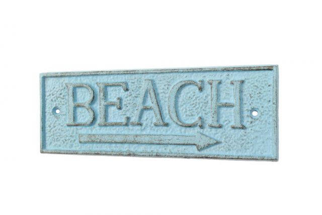 Rustic Light Blue Cast Iron Beach Sign 9