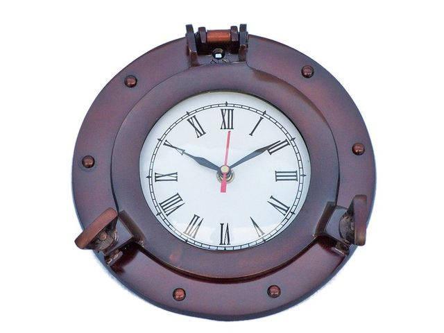 Antique Copper Deluxe Class Porthole Clock 8