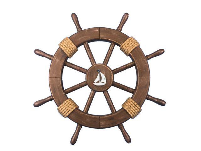 Rustic Wood Finish Decorative Ship Wheel with Sailboat 18