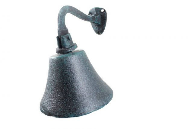 Seaworn Blue Cast Iron Hanging Ships Bell 6