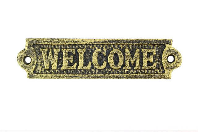 Rustic Gold Cast Iron Welcome Sign 6
