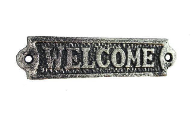 Rustic Silver Cast Iron Welcome Sign 6