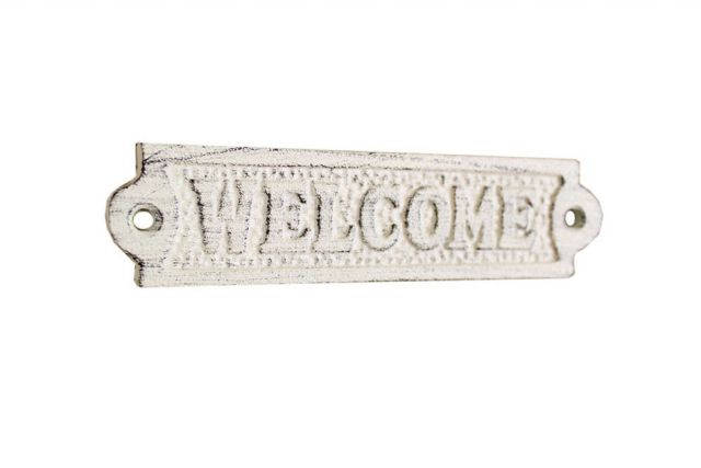 Whitewashed Cast Iron Welcome Sign 6