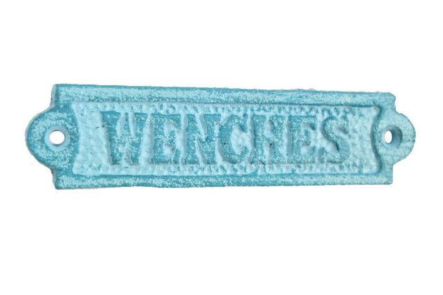 Rustic Light Blue Whitewashed Cast Iron Wenches Sign 6