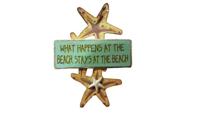 Wooden What Happens at the Beach Starfish Sign 8