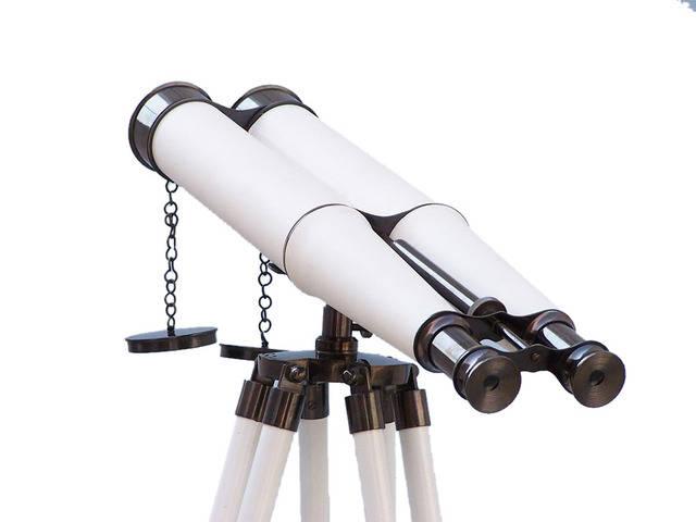 Floor Standing Admirals Oil-Rubbed Bronze-White Leather Binoculars 62