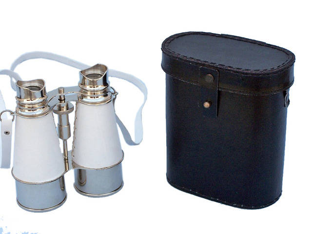 Admirals Chrome Binoculars with White Leather Case 6