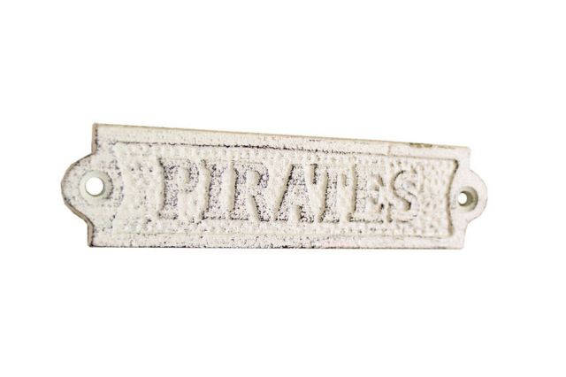 Whitewashed Cast Iron Pirates Sign 6