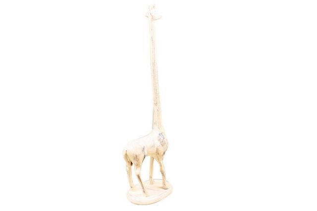 Whitewashed Cast Iron Giraffe Extra Toilet Paper Stand 19