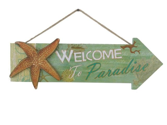 Wooden Arrow Welcome to Paradise Starfish Beach Sign 16