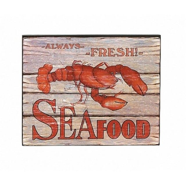 Wooden Always Fresh Seafood Lobster Sign 10