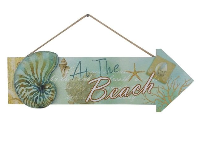 Wooden Arrow At The Beach Seashell Sign 16