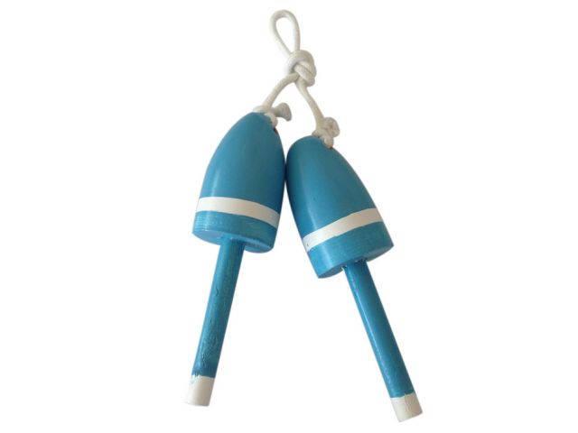 Set of 2 - Wooden Light Blue Decorative Maine Lobster Trap Buoy 7