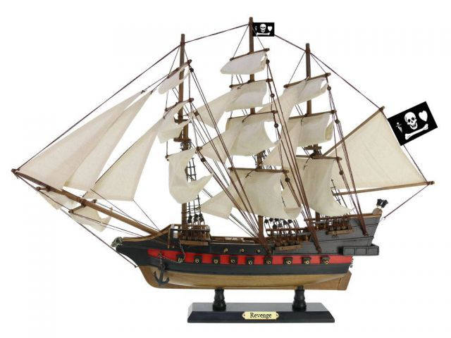 Wooden John Gows Revenge White Sails Limited Model Pirate Ship 26