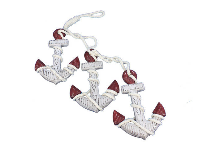 Wooden Rustic Decorative Triple Anchor Set 7 - Red