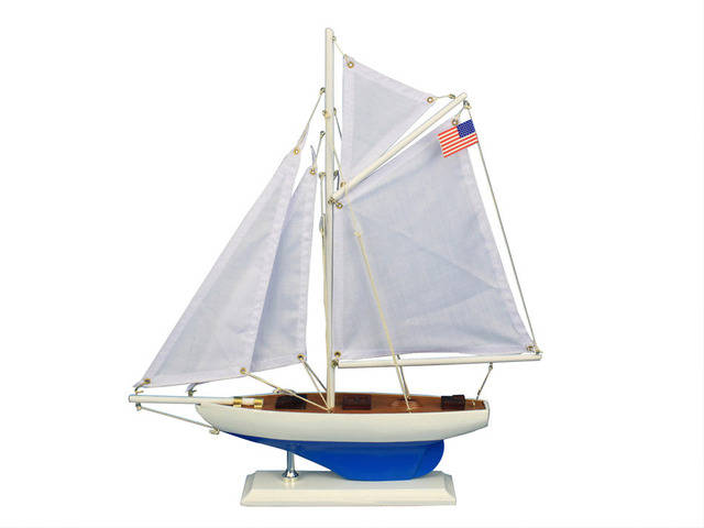 Wooden Defender Model Sailboat Decoration 16