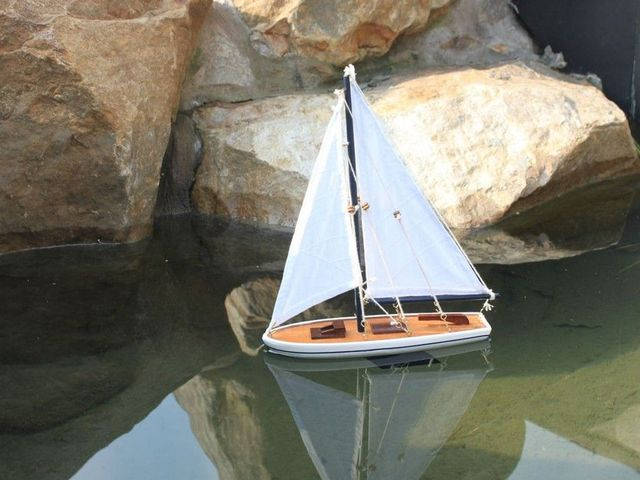 Wooden It Floats 12 - Blue Floating Sailboat Model