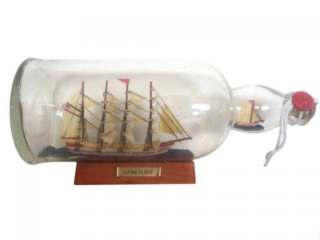 Red Flying Cloud Model Ship in a Glass Bottle 11