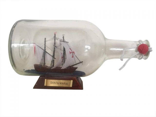 Santa Maria Model Ship in a Glass Bottle 9
