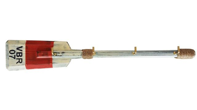 Wooden Rustic VBR Oar with Red Stripe and Hooks 16