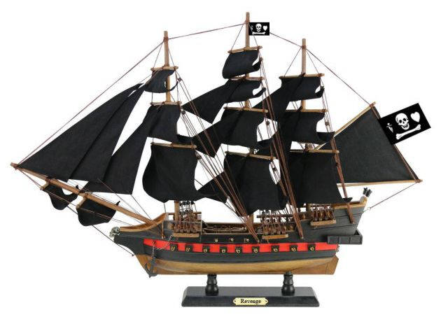 Wooden John Gows Revenge Black Sails Limited Model Pirate Ship 26
