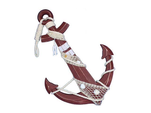 Wooden Rustic Decorative Red Anchor w- Hook Rope and Shells 24