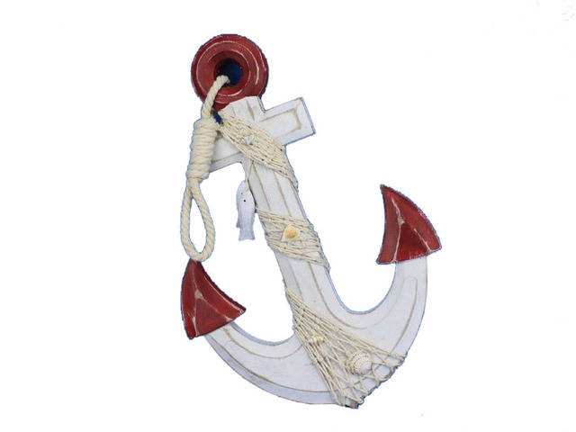 Wooden Rustic Red-White Decorative Anchor w- Hook Rope and Shells 13