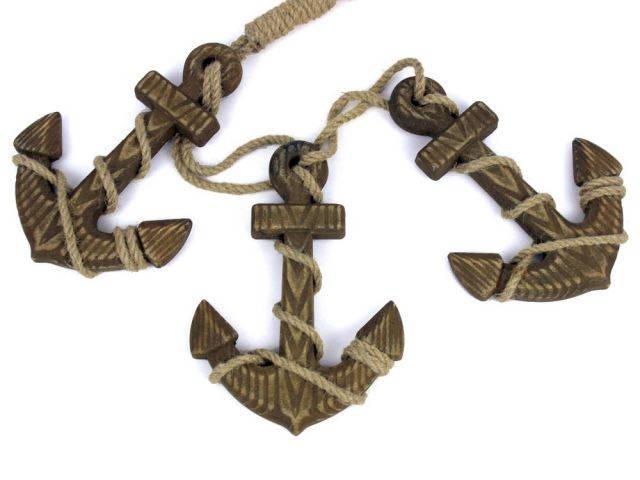 Wooden Rustic Decorative Triple Anchor Set 7
