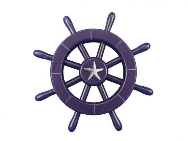 Dark Blue Decorative Ship Wheel With Starfish 12