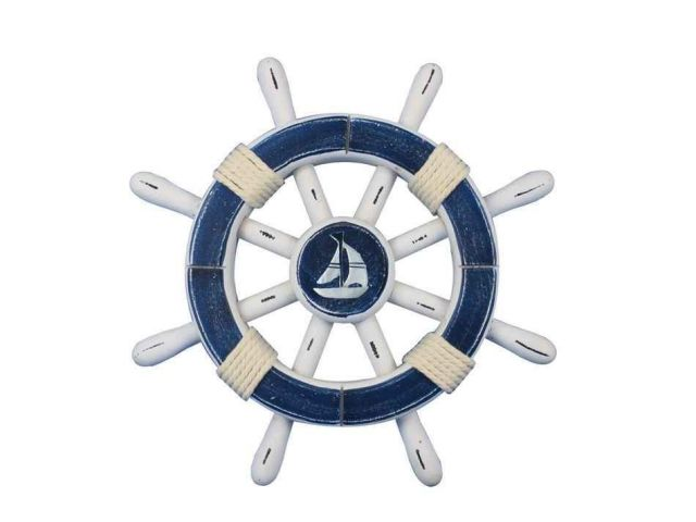 Rustic Dark Blue And White Decorative Ship Wheel With Sailboat 12