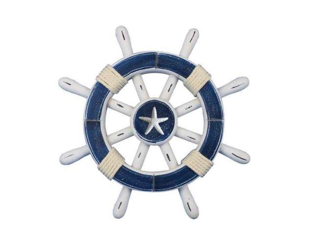 Rustic Dark Blue And White Decorative Ship Wheel With Starfish 12