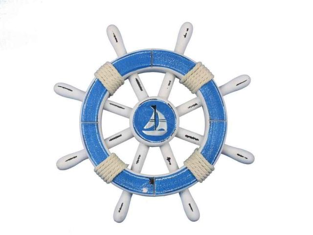 Rustic Light Blue And White Decorative Ship Wheel With Sailboat 12