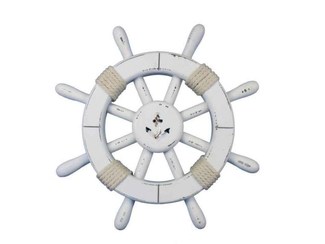 Rustic White Decorative Ship Wheel With Anchor 12