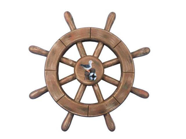Rustic Wood Finish Decorative Ship Wheel With Seagull 12