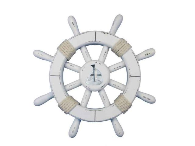 Rustic White Decorative Ship Wheel With Sailboat 12