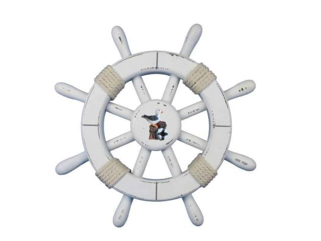 Rustic White Decorative Ship Wheel With Seagull 12