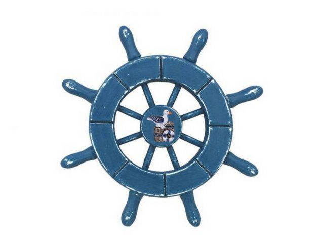 Rustic Light Blue Decorative Ship Wheel With Seagull 6