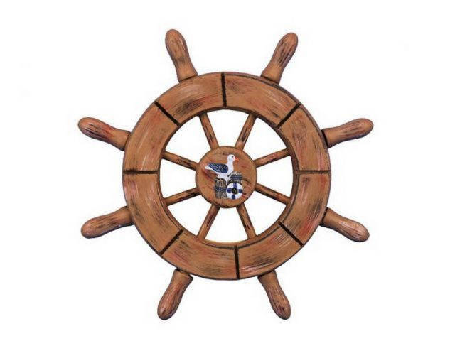 Rustic Wood Finish Decorative Ship Wheel With Seagull 6