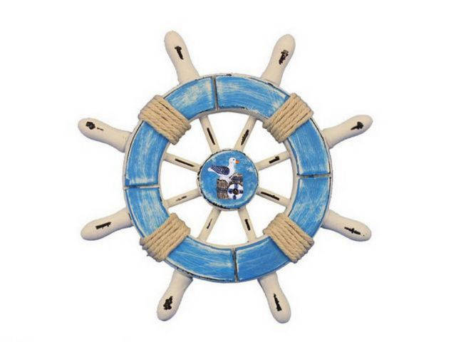 Rustic Light Blue and White Decorative Ship Wheel With Seagull 6