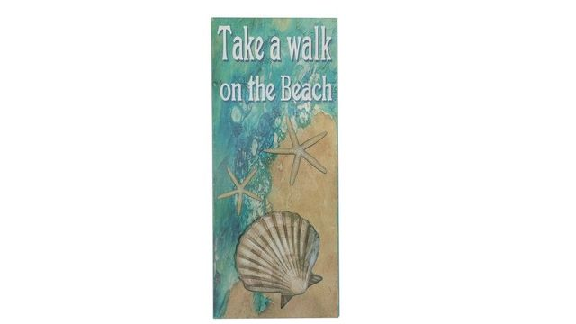 Wooden Take A Walk On The Beach Shell Sign 19