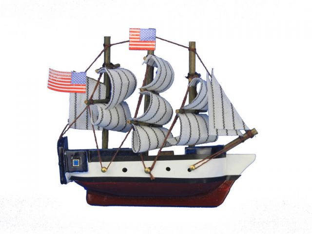 Wooden USS Constitution Tall Model Ship Magnet 4