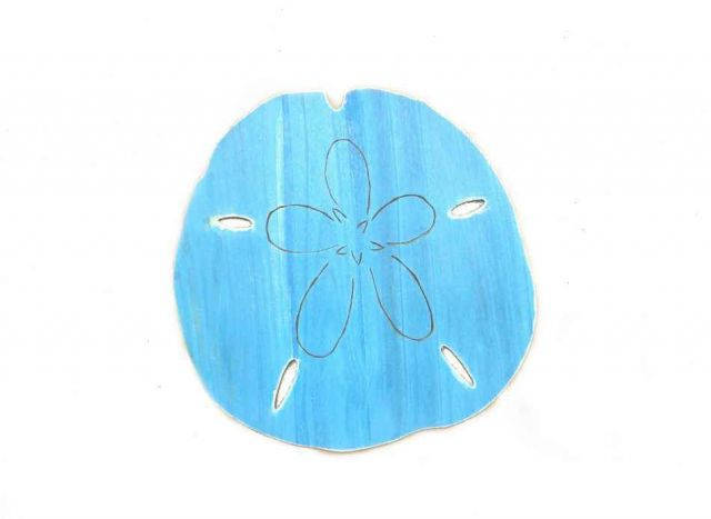 Wooden Rustic Light Blue Wall Mounted Sand Dollar Decoration 25