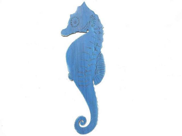 Wooden Rustic Dark Blue Wall Mounted Seahorse Decoration 36