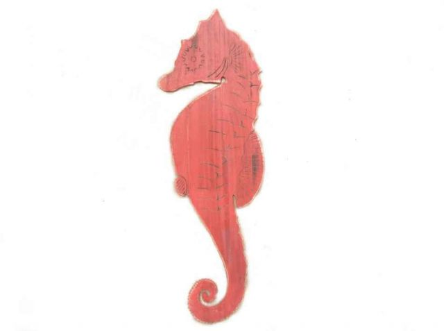 Wooden Rustic Red Wall Mounted Seahorse Decoration 36