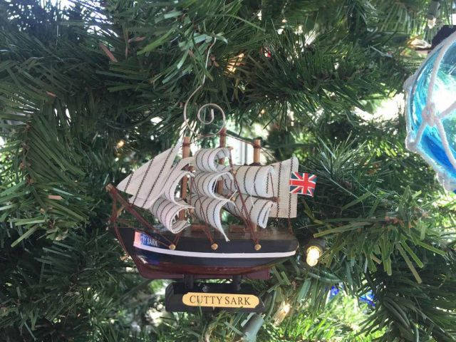 Wooden Cutty Sark Tall Model Clipper Ship Christmas Ornament 4