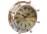 Brass Double Dial Porthole Wheel Clock 8