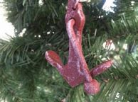 Red Whitewashed Cast Iron Anchor Christmas Ornament 4