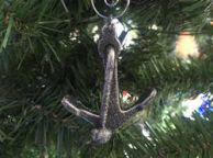 Antique Silver Cast Iron Anchor Christmas Ornament 4