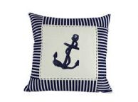 Blue Anchor Nautical Stripes Decorative Throw Pillow 16