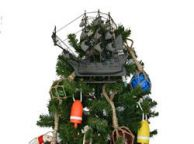 Wooden Flying Dutchman Model Pirate Ship Christmas Tree Topper Decoration